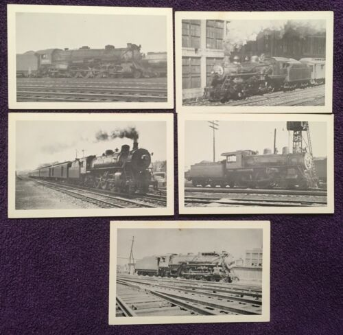 VINTAGE RAILROAD LOCOMOTIVE POSTCARD LOT OF 5 DIFFERENT = EARLY GROUP