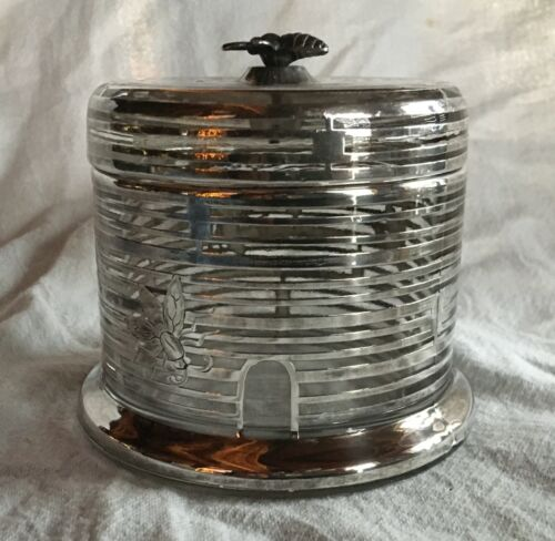 ANTIQUE STERLING SILVER OVERLAY CLEAR Glass Honey Jar with Bee Motif Rare Unique