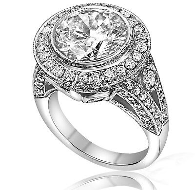 6.91CT Round Cut Natural F SI2 Diamond Engagement Ring 14K White Gold 4.51crt