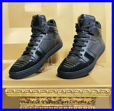 NEW VERSACE SUEDE/LEATHER HIGH-TOP BLACK SNEAKERS 42- 9