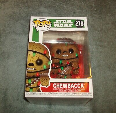 FUNKO POP CHEWIE WITH CHRISTMAS LIGHTS #278 NEW IN BOX VINYL FIGURE CHEWBACCA