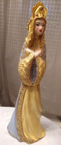 "1948 Yellow /Gold Asian Woman Porcelain Figurine 17.5"" signed ""A.R.P. Altone""(?)"