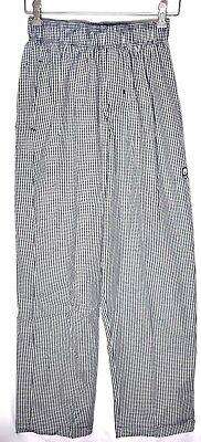 Chef Works Checkered Uniform Chef Pants Sz Ssmall Drawstring Elastic Waist
