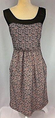 Moulinette Soeurs Anthropologie Dress 12 Fit Flare Velvet Sleeveless Pink Black