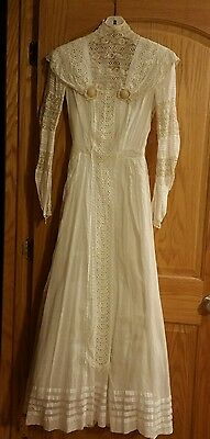 VINTAGE ANTIQUE VICTORIAN Late 1800'S Early 1900's  WEDDING DRESS size XS White