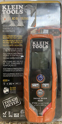 Klein Tools Et250 Digital Acdc Voltage Continuity Tester 600v - New - Sealed