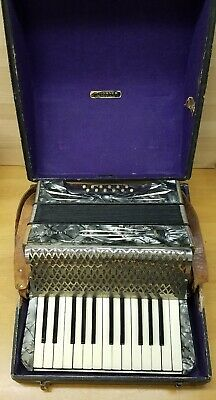 Vintage Hohner Lakeside 12 Bass Accordion With Case And Leather Straps