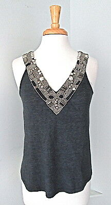 Urban Outfitters gray tank top antique silver beaded tribal embellishments Sz S