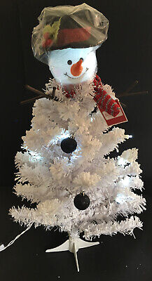 3.5 Ft White Pre-Lit Snowman Artificial Christmas Tree Cool White Lights