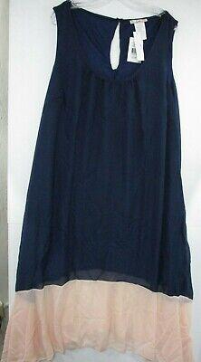 Love Squared $59 Womens Navy/Pink Pleated Trapeze Drop Waist Dress 2X Plus Drop Waist Pleated Dress