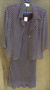 "Polka dot Dress and sheer Blouse Set ""Tradition"" Sz 16"