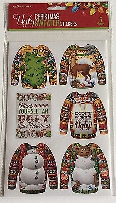 Ugly Christmas Sweater Stickers 5 Sheets Crown Jewlz Awards Invites Tags New](Ugly Sweater Awards)