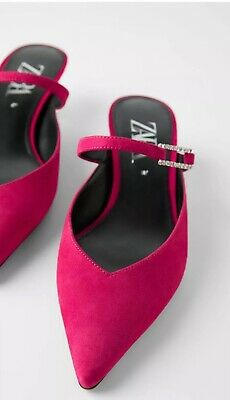 New Zara Women Suede Mule Shoes Kitten Heels Size 9 fuchsia Bejeweled -