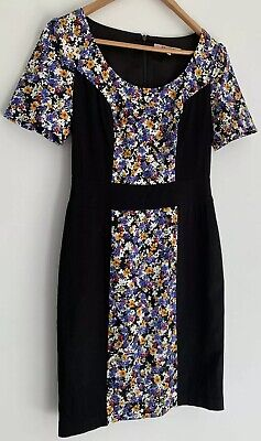 Floral Print Panel (REVIEW gorgeous floral Print Black Panel Dress Size 8)