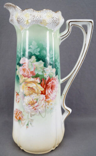 RS Prussia Mold 525 Pink Yellow & White Roses Green & Gold Large Tankard C. 1904