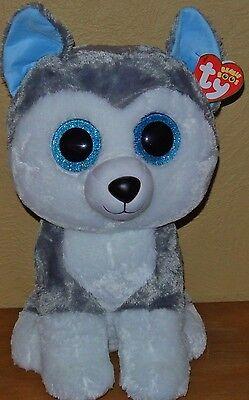 New  Ty Beanie Boos Slush The Siberian Husky Dog Large 16  Size Beautiful