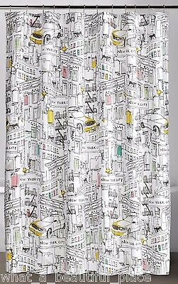 Broadway New York Fabric Shower Curtain Modern Cityscape Taxi ...