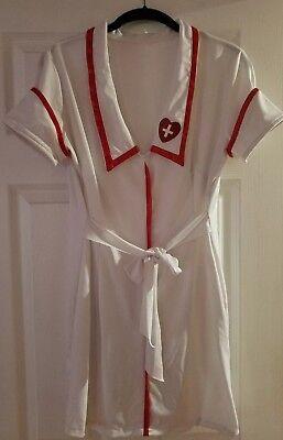 Forum Novelties Dress Nurse Costume Red White V-Neck Halloween Party Size S/M
