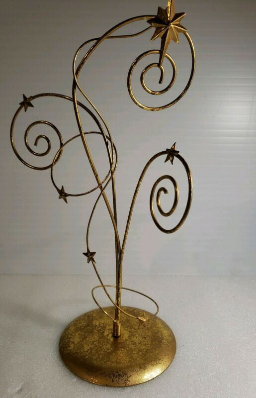 CHRISTMAS TABLETOP METAL GOLD  ORNAMENT HOLDER #2652