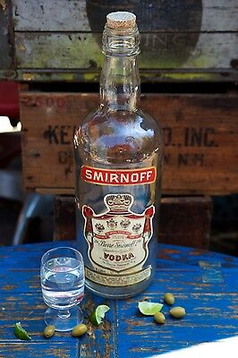 "Huge 18"" Glass Smirnoff Vodka Bottle Vintage Bar Display"
