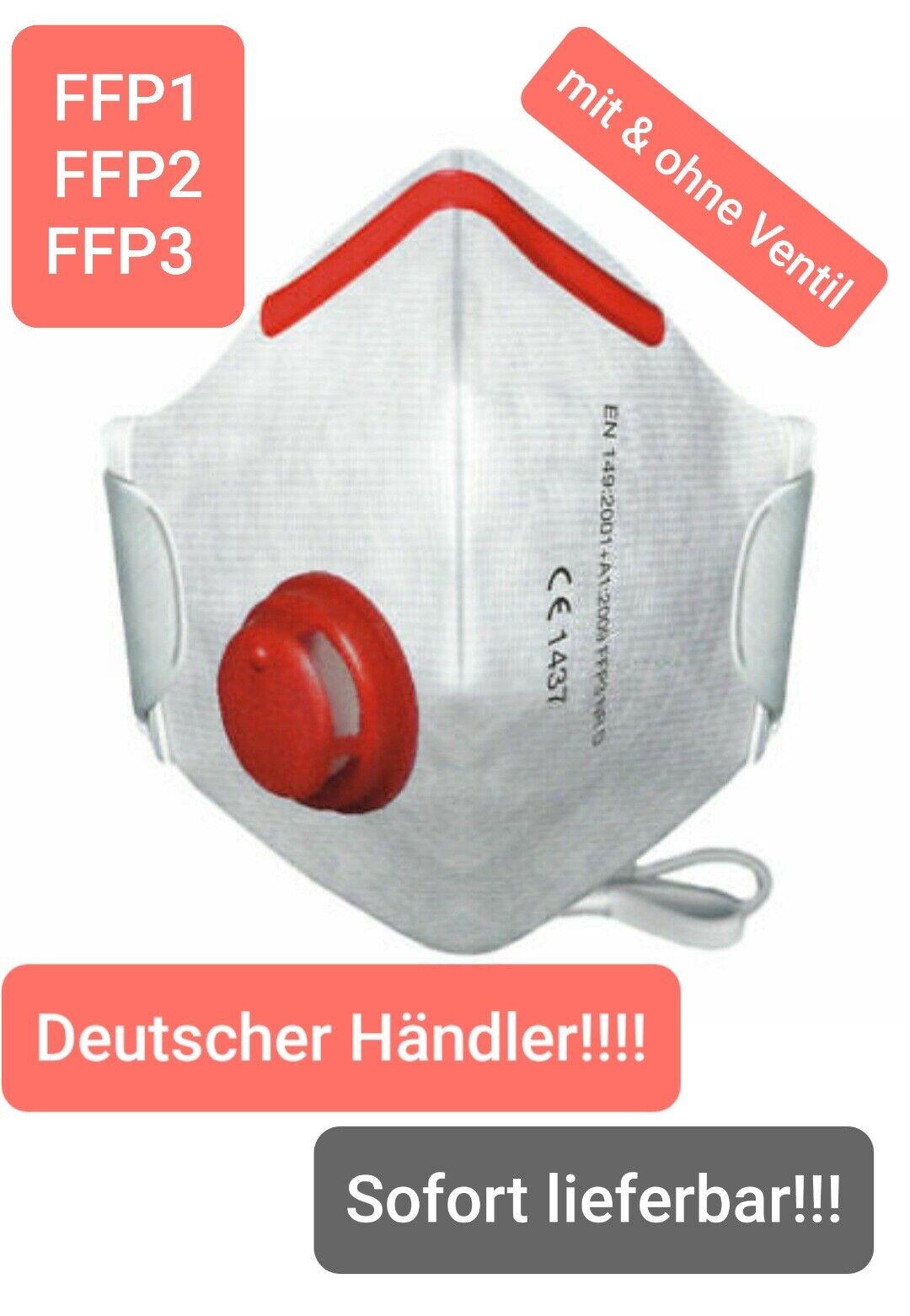 Atemschutz Feinstaubmasken mit & ohne Ventil FFP1 FFP2 FFP3 Staubmasken