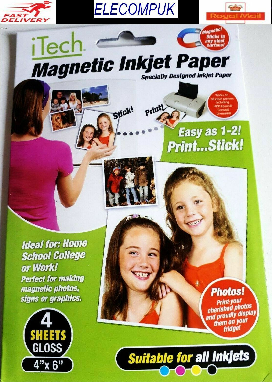 "4"" X 6""  MAGNETIC GLOSSY PHOTO SHEETS FOR INKJET PRINTER. 4 SHEETS PER PACK."