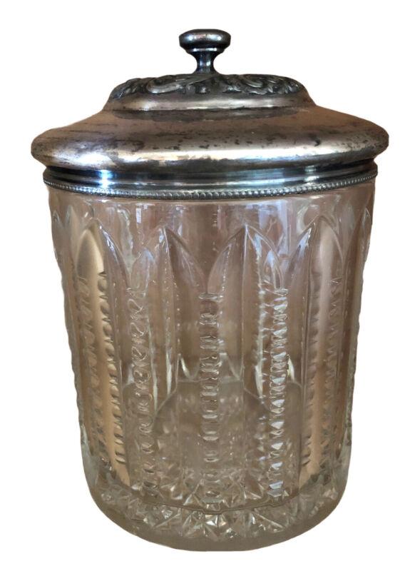 Vintage Cut Glass Biscuit/Cookie Jar w/ Silver Plate Lid