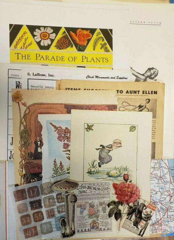 70 junk journal papers & ephemera kit Vintage modern coffee tea dyed, ads washi