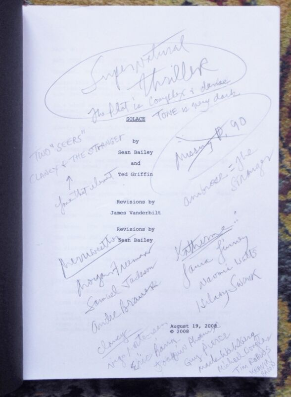 "2008 ANNOTATED SCREENPLAY for FILM ""SOLACE"" w/ Colin Farrell, Anthony Hopkins"