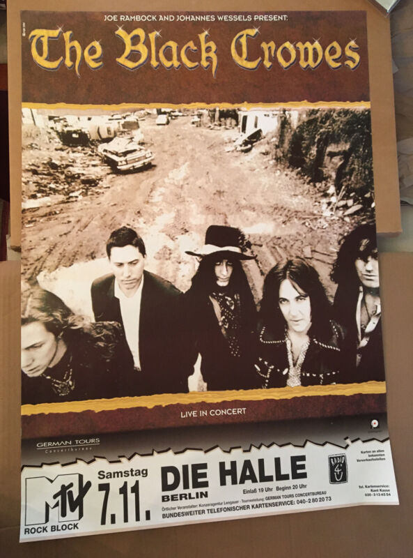Black Crowes Poster 1998 Hamburg German Promo Rare Original Vintage Not CRB