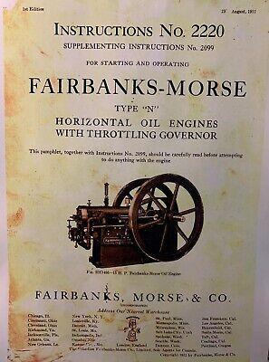 Fairbanks Morse Model N 15 20 80 Hp Gas Oil Hit Miss Engine Owner Parts Manual