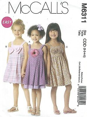 McCall's 6311 Toddlers' Lined Dress 2, 3, 4, 5   Sewing Pattern Toddler Line Dress Pattern