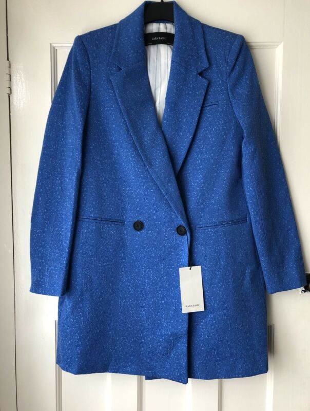 ZARA BLUE TEXTURED WEAVE DOUBLE BREASTED COAT BLAZER SIZE XS BNWT RRP£70