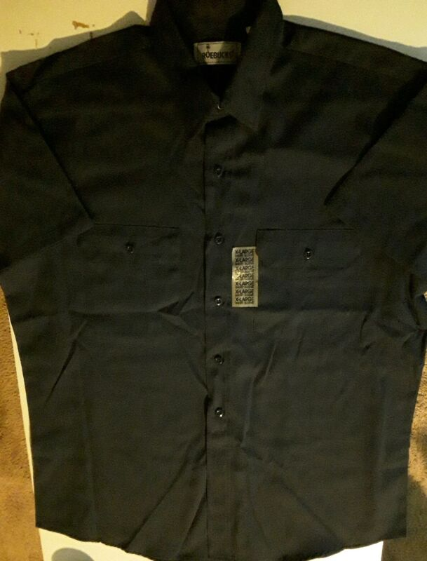 Vintage NEW Sears Roebucks XL Short Sleeve Button Up Blue Work Shirt