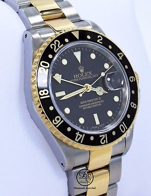 Rolex GMT-MASTER II 16713 Two Tone 18K Yellow Gold/SS Black Gold Buckle *MINT*