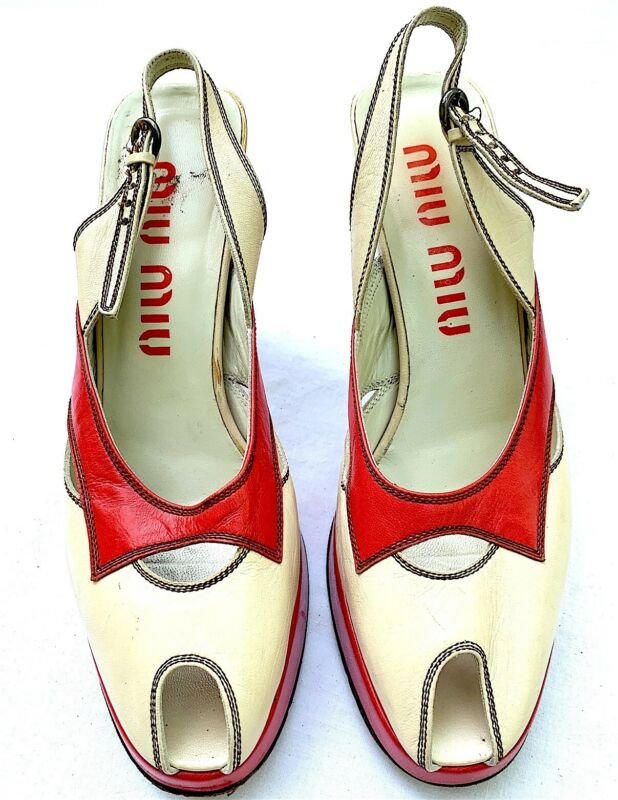 Miu Miu Cream Red Slingback Platform Shoes