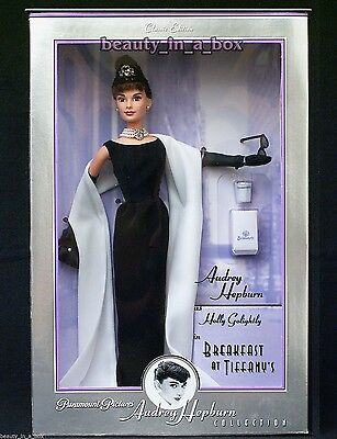 Audrey Hepburn Barbie Doll Breakfast at Tiffany's Givenchy Black Gown EXCELLENT""