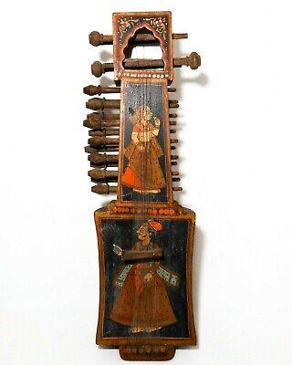 19TH C ANTIQUE INDIAN HAND PAINTED FIGURATIVE FOLK ART SARANGI STRING INSTRUMENT Indian Folk Instruments