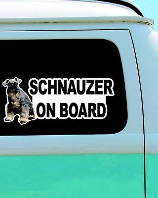 Schnauzer On Board Dog Funny Vinyl Car Door Window Bumper Laptop Decal Sticker