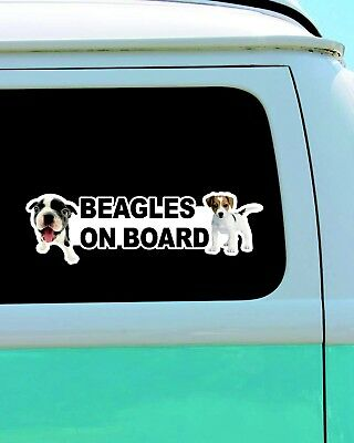 Beagles On Board Cute Dog Vinyl Car Door Window Bumper Laptop Decal Sticker SPR