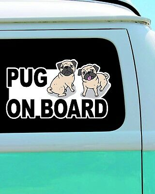 Pug Dog On Board Funny Vinyl Car Door Window Bumper Laptop Decal Sticker Decor