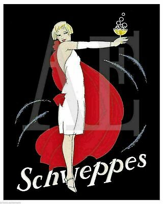 VP-452 Poster Art 8x10 ~ FS May 1925 Schweppes Lady in Flowing Red Cape