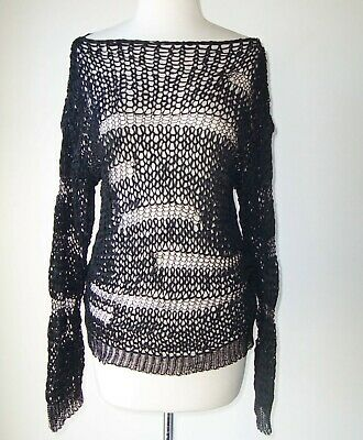 ISABEL BENENATO Black Open Weave Crochet Knit Sweater M L