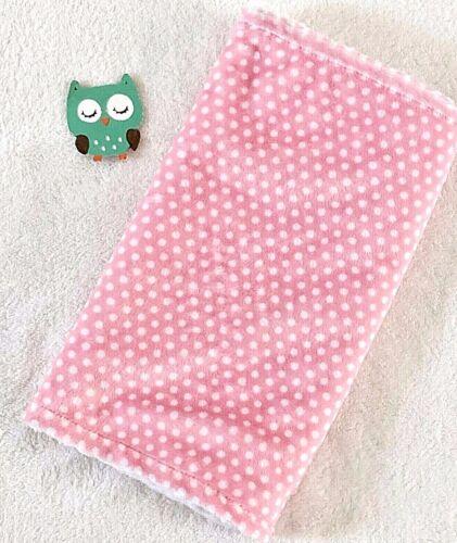 Handcrafted, Pink Polka Dot Minky Print & White Minky Bubble, Baby Burp Cloth