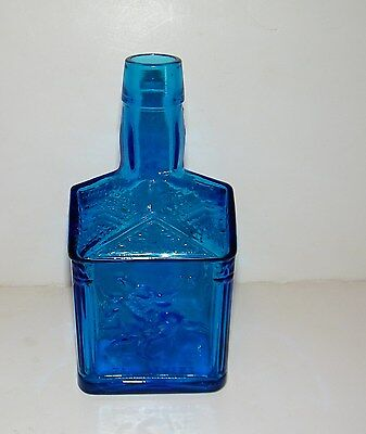 "Wheaton Glass Large Blue Glass Paul Revere 1775 & Eagle Bottle 7 1/2"" VGC"