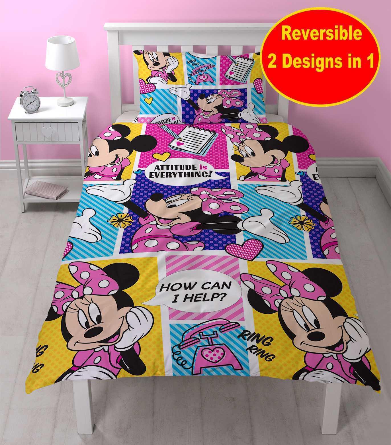 minnie mouse single duvet quilt cover set