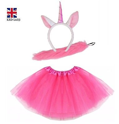 PINK UNICORN TUTU COSTUME Kids Teens Halloween Pinkie Pony Fancy Skirt Dress UK