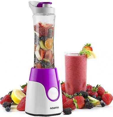 Gourmia GPB250P Slighting Blender, BlendMate Smoothie with Bottle Lid 250W Purple