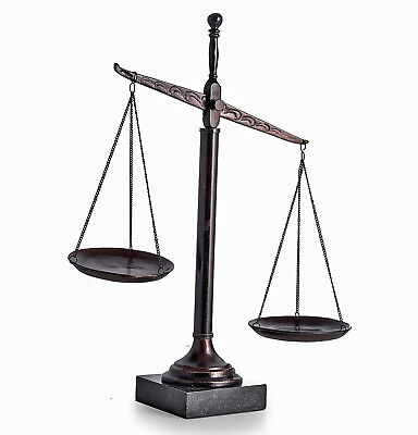 "LAWYERS & LEGAL - SCALES OF JUSTICE SCULPTURE ON MARBLE BASE - 16""H"