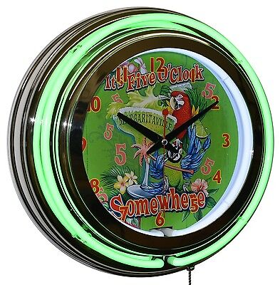 "It's 5 O'clock Somewhere Margaritaville 15"" Green Double Neon Clock Bar Decor"